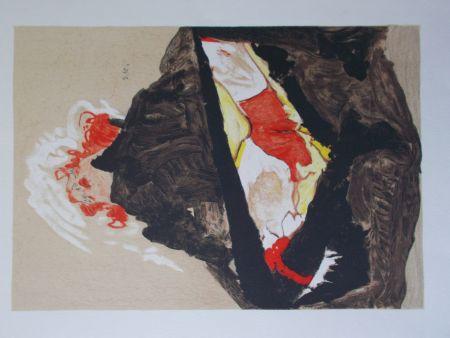 Литография Schiele - La fille aux cheveux rouge