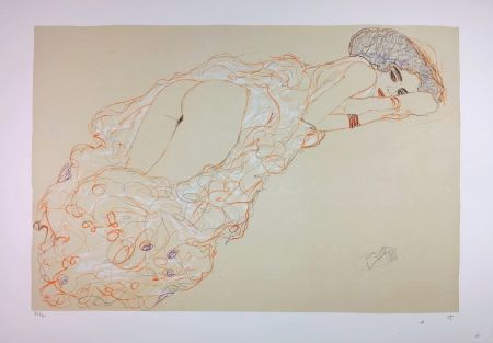 Литография Klimt - La fille en robe longue / Reclining Nude Lying on Her Stomach and Facing Right / Auf dem Bauch liegender Halbakt nach rechts - 1910