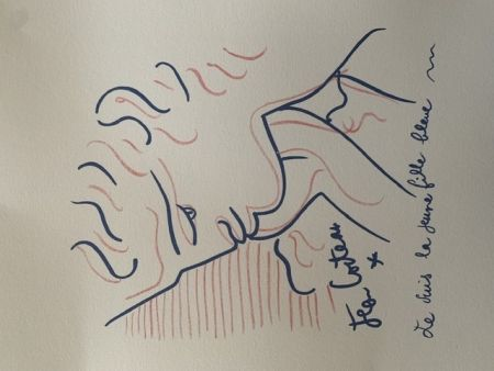 Литография Cocteau - La jeune fille bleue