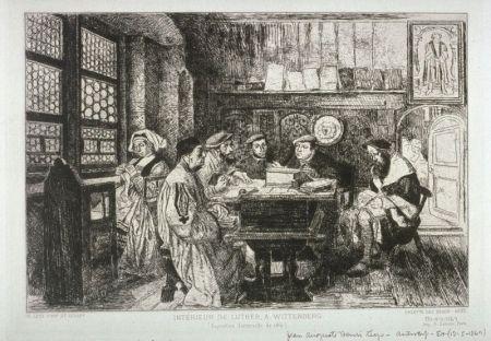Гравюра Leys - La lecture chez Luther