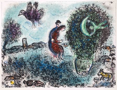 Литография Chagall - La lune dans le bouquet