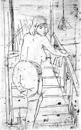 Офорт Manfredi - La modella bionda sulla scale