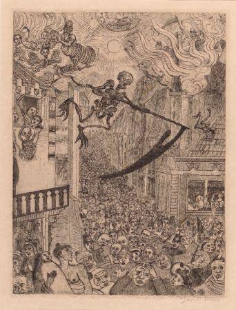 Гравюра Ensor - La mort poursuivant le troupeau des humains