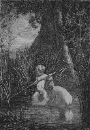 Офорт Fontanesi - La pesca