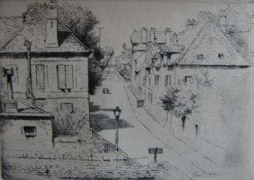 Гравюра Delatre - La rue de Paris, à Rozoy-en-Brie