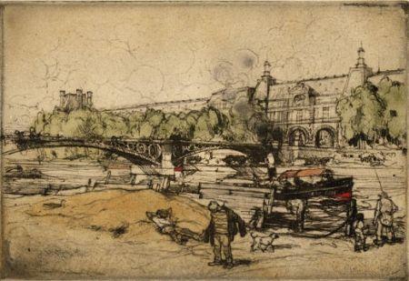 Офорт И Аквитанта Coussens - La Seine au Pont du Carrousel