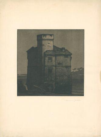 Офорт И Аквитанта Gattiker - La Torre di Rapallo (Torre Pagana)