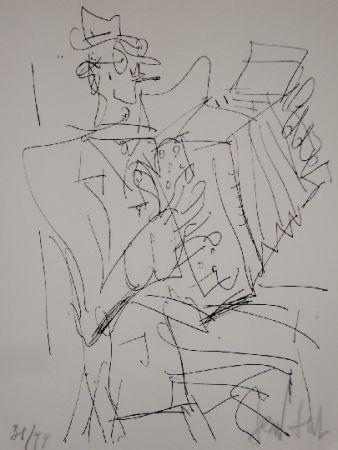 Литография Paul  - L'accordéoniste