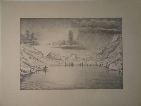 Литография Stöcklin - Landschaft bei Morcote.