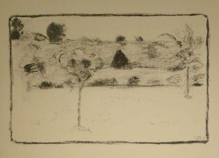 Литография Amiet - (Landschaft mit Bäumen)
