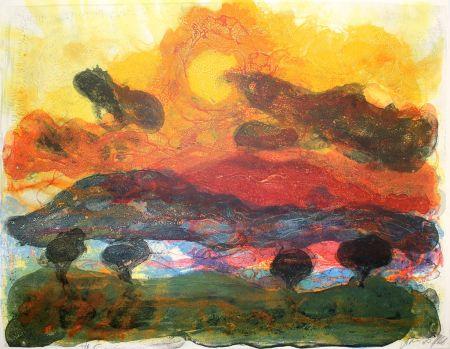 Литография Kruck - Landschaft mit Pinen