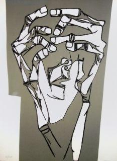 Гравюра Guayasamin - Las manos del terror