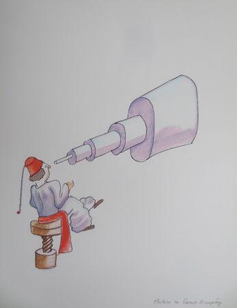 Литография Saint-Exupéry - L'astronome