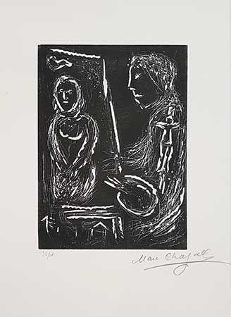 Линогравюра Chagall - L'atelier