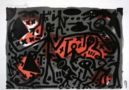 Литография Penck - Lausanne 3 Kämpfer
