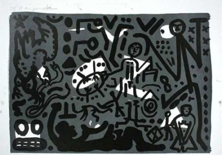 Литография Penck - Lausanne 4 Hände auf den Tisch