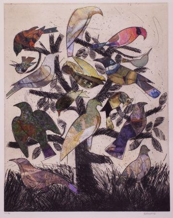 Литография Valdés - Le arbre aux oiseaux