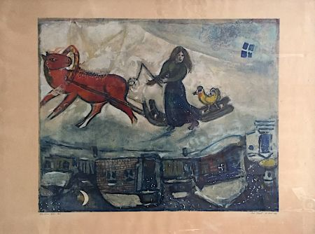 Литография Chagall - Le cheval rouge