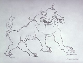 Литография Zadkine - Le chien de Gerion (b)