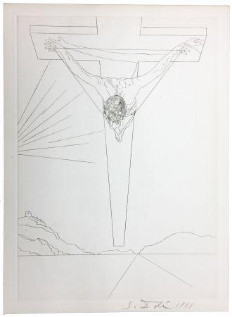 Гравюра Сухой Иглой Dali - Le Christ de Saint-Jean de la Croix (Pointe-sèche pour le Manifeste Mystique). 1951.