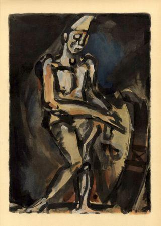 Трафарет Rouault - Le Clown Musicien (1938) de l'album : Douze Contemporains par J. Lassaigne (1959)