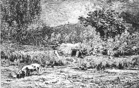 Офорт Daubigny - Le cochon dans un verger