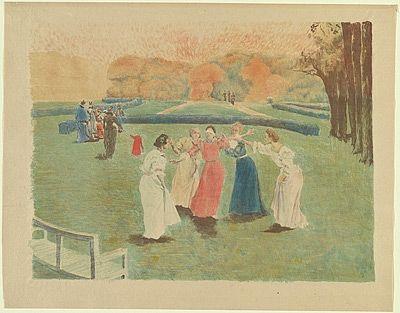 Литография Lunois - Le colin-maillard (Blind Man's Bluff)
