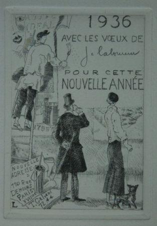 Офорт Laboureur - Le Colleur d'affiches