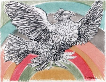 Литография Picasso - Le Colomb Volant  - The Flying Dove With A Rainbow