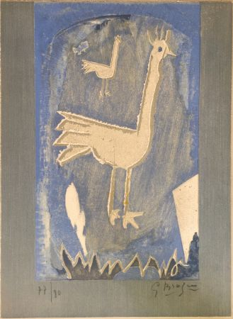 Литография Braque - Le Coq (frontispice pour Verve n° 27/28 1953)