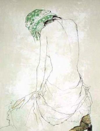 Литография Jansem - Le Foulard Vert