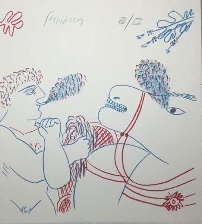 Литография Fassianos - Le fumeur de cigarettes et le cheval