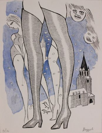 Офорт И Аквитанта Buzzati - Le gambe di Saint Germain
