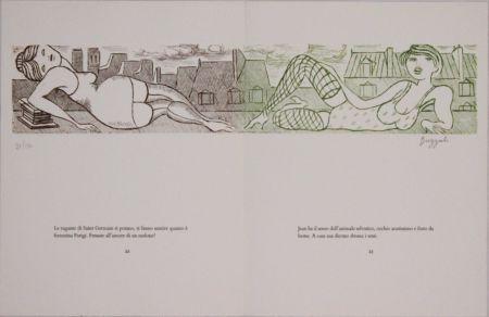Офорт Buzzati - Le gambe di Saint Germain