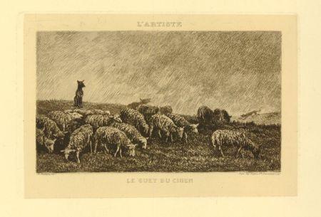 Гравюра Daubigny - Le guet du chien