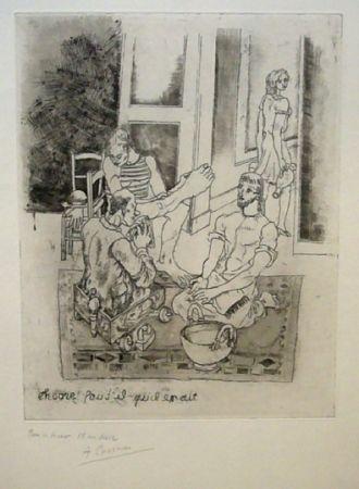 Офорт Courmes - Le lavement de pieds II (noir)