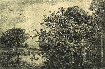 Гравюра Daubigny - Le marais aux cigognes