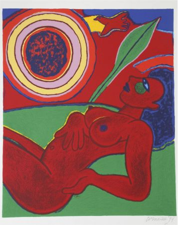 Литография Corneille - Le nu rouge en été