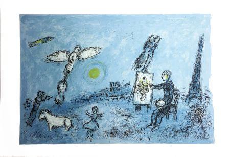 Литография Chagall - LE PEINTRE ET SON DOUBLE (Épreuve à plat sur Arches). 1981.
