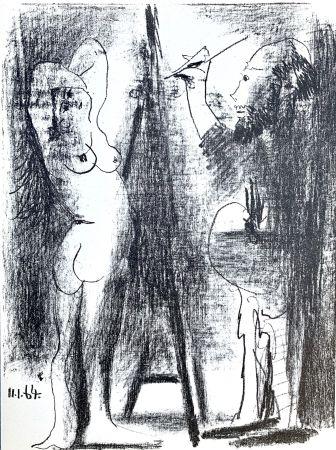 Литография Picasso - Le Peintre et son modele