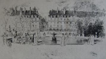 Гравюра Leheutre - Le petit bassin des Tuileries