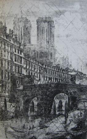 Гравюра Meryon - Le Petit Pont, Paris