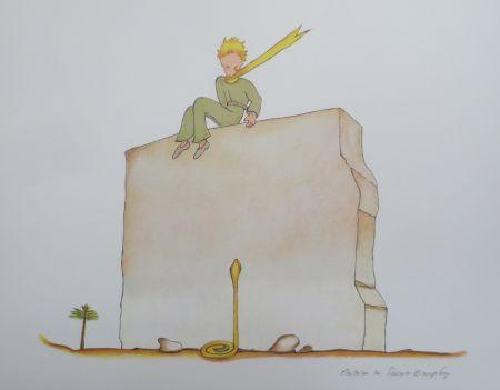 Литография Saint-Exupéry - Le petit prince et le serpent au pied du mur