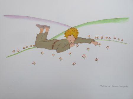 Литография Saint-Exupéry - Le petit prince parmi les fleurs