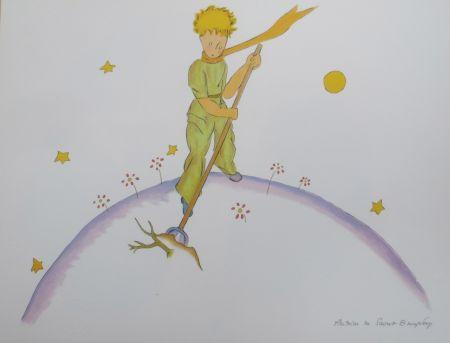 Литография Saint-Exupéry - Le petit prince sur sa planéte