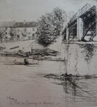 Гравюра Leheutre - Le Pont de Gournay, de profil