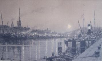 Литография Alleaume - Le port de Rouen