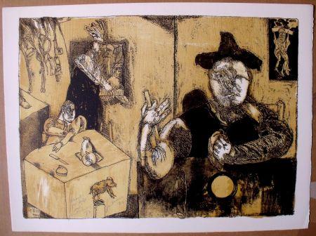 Литография Cuevas - Le repas du magicien