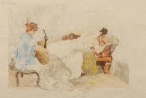Литография Lunois - Le repos des danseuses