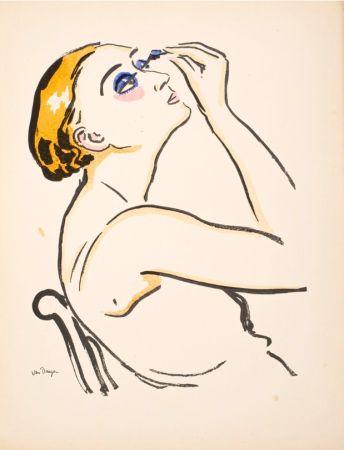 Трафарет Van Dongen - Le Rimmel, femme se maquillant.